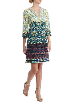 Taylor Embroidered Stretch Crepe Shift Dress