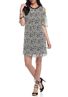 Taylor Cold Shoulder Printed A-Line Dress