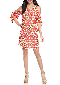 Taylor Chiffon Cold Shoulder Poppy Printed Dress