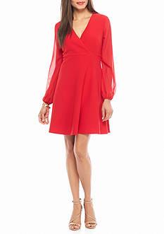 Taylor Long Sheer Sleeve Crepe A-line Dress
