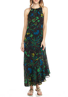Taylor Printed Chiffon Halter Maxi Dress