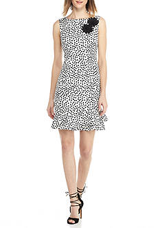 Taylor Polka Dot Sheath Dress with Floral Applique