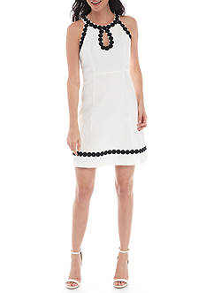Taylor Halter Shift Dress with Pompom Trim