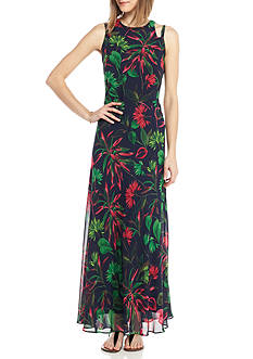 Taylor Printed Chiffon Cutout Shoulder Maxi Dress