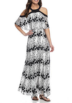 Taylor Embroidered Popover Halter Maxi Dress