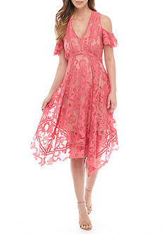 Taylor Cold-Shoulder Lace Fit-and-Flare Dress
