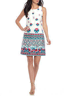 Taylor Floral Border Hem Sheath Dress