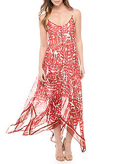 Taylor Scarf Print Handkerchief Hem Maxi Dress