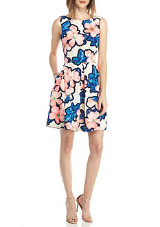 Taylor Floral Printed Fit-and-Flare Dress
