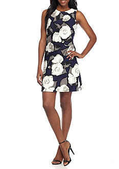 Just Taylor Floral Scuba Sheath Dress