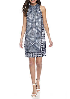 Taylor Smock-Neck Printed Halter Dress