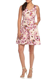 Taylor Floral Printed Jacquard Fit and Flare Dress