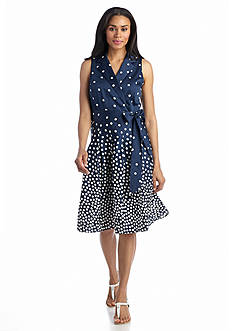 Anne Klein Polka Dot Printed Shirtdress