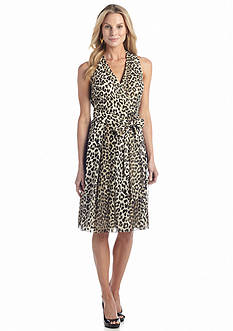 Anne Klein Sleeveless Leopard Print Wrap Dress