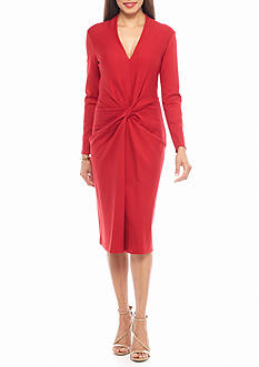 Anne Klein Twisted Knot Front Midi Sheath Dress