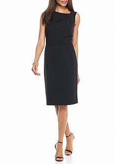 Anne Klein Pleated Neckline Sheath Dress