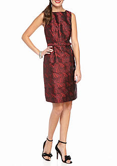 Anne Klein Printed Jacquard A-Line Dress