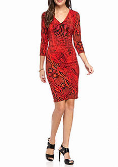 Anne Klein Snake Printed Sheath Dress