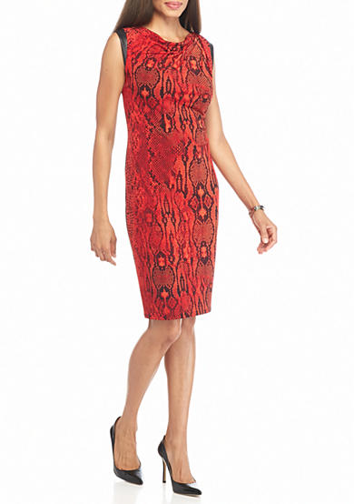 Anne Klein Snake Printed Shift Dress with Faux Leather Trim