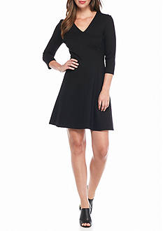 Anne Klein V-Neck Ponte Shift Dress