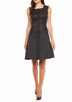 Anne Klein Jacquard Seamed Fit and Flare Dress