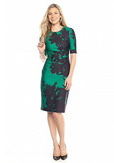 Anne Klein Printed Scuba Midi Sheath Dress