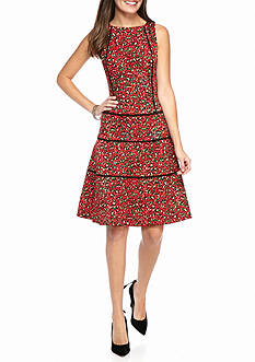 Anne Klein Animal Printed Jacquard Fit and Flare Dress