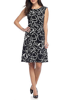 Anne Klein Printed Drop-waist Dress