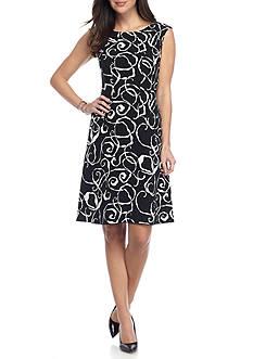 Anne Klein Printed Drop-waist Dress