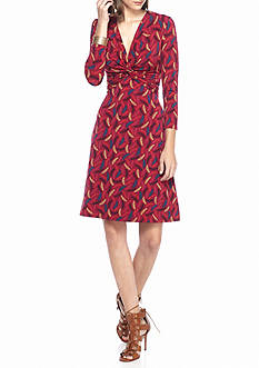 Anne Klein Printed Twisted Knot Front Dress