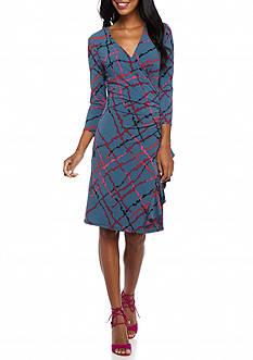 Anne Klein Printed Side Ruffle Skirt Jersey Dress