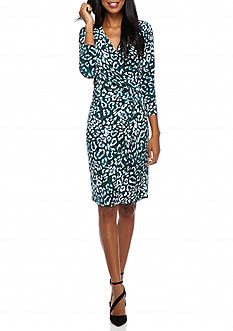 Anne Klein Printed Jersey Twisted Knot Wrap Dress