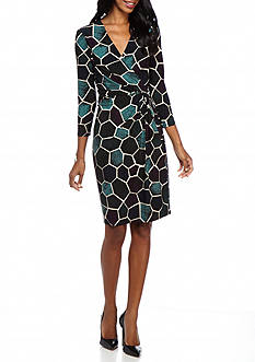 Anne Klein Printed Jersey Twisted Knot Dress
