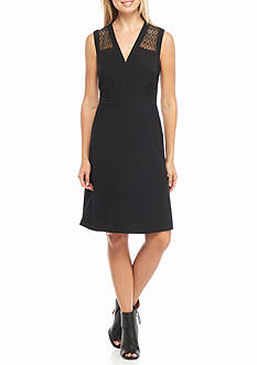 Anne Klein Lace Trim Fit and Flare Dress