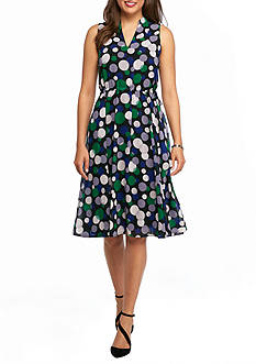 Anne Klein Bubble Printed Fit and Flare Dress