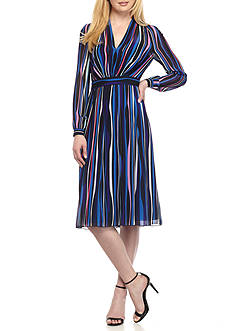 Anne Klein Stripe Fit and Flare Dress