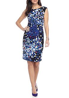 Anne Klein Printed Twist Side Pleat Jersey Dress