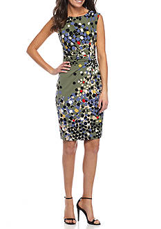 Anne Klein Printed Twist Side Pleat Jersey Dress