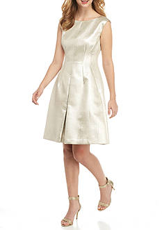 Anne Klein Metallic Jacquard Fit-and-Flare Dress