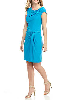 Anne Klein Drape-Neck Sheath Dress