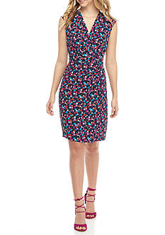 Anne Klein Floral Printed Faux Wrap Dress