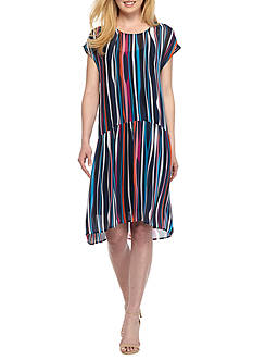 Anne Klein Stripe Drop-waist High Low Hem Dress