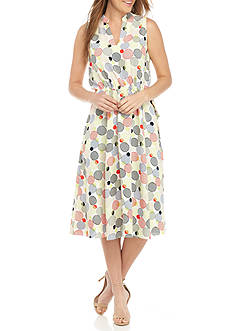 Anne Klein Printed Drawstring Waist Dress
