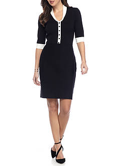 Anne Klein Shawl Collar Sweater Dress