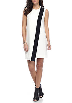 Anne Klein Colorblock Shift Dress with Overlay