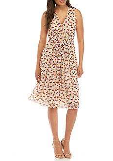 Anne Klein Printed Pleated Fit and Flare Dress