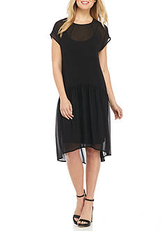 Anne Klein Drop-waist Hi-Lo Hem Dress