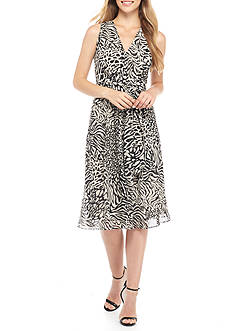 Anne Klein Printed Chiffon Belted Fit-and-Flare Dress
