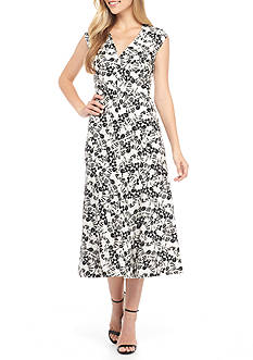 Anne Klein Printed Linen Fit-and-Flare Dress