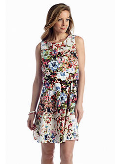 Gabby Skye Floral Fit and Flare Dress with Detachable Popover